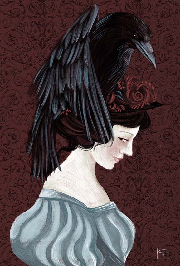 lady under the crow